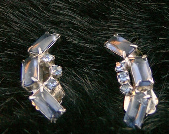 blue class and rhinestone clip earrings