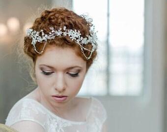 "Wedding Hair Accessory, Beaded Headband, Bridal Headband, Crystal Halo, Boho Bridal Crown ""Sunset"""