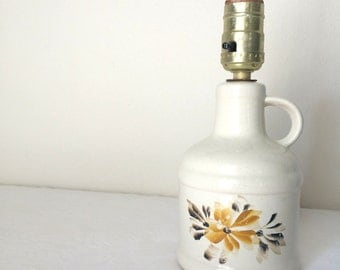White Jug Lamp Vintage Floral Yellow Accent Lamp