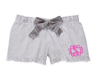 Monogrammed Seersucker Pajama Shorts - Charcoal Grey Personalized With Monogram or Name PJ Shorts - Women's Monogrammed Seersucker Shorts