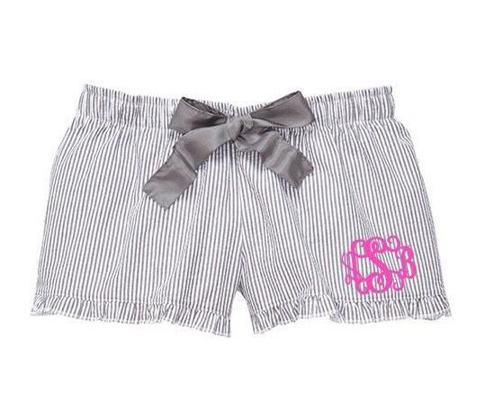 monogrammed seersucker pajama shorts charcoal grey