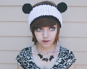 Panda - Handmade Crochet Bear Ear Headband Ear Warmer