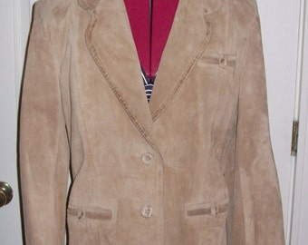 Vintage 1970s Ladies Tan Suede Leather Blazer Jacket Size 13 Only 8 USD