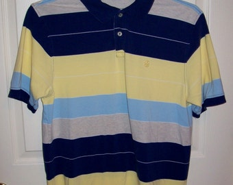 50 CENT SALE Vintage Men's Striped Polo Golf Shirt by Izod Medium Now .50 USD