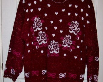 Vintage Ladies Burgundy Hearts & Roses Sweater by Trimmings Plus Size 24 Only 6 USD