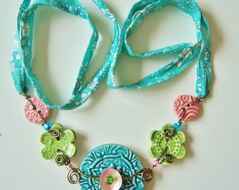 Ceramic Button necklace with Liberty fabric - Turquoise, pink and green