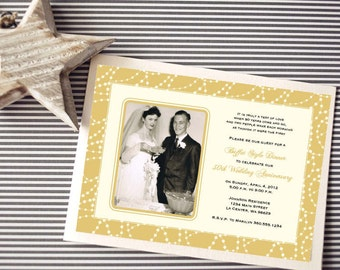 Personalized - 50th Wedding Anniversary Invitation - Gold - Custom Printable