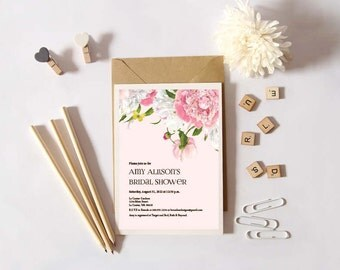 Instant Download - Peony- Floral -  Birthday/Wedding/Shower Invitation, Custom Printable