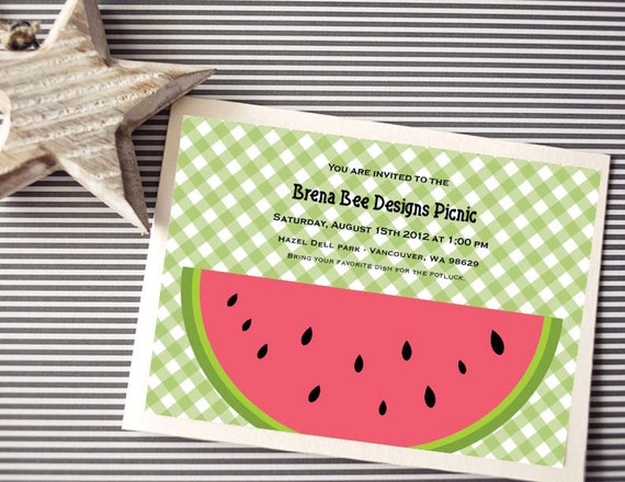 Instant Download - Gingham Watermelon Birthday/Picnic Invitation, Custom Printable