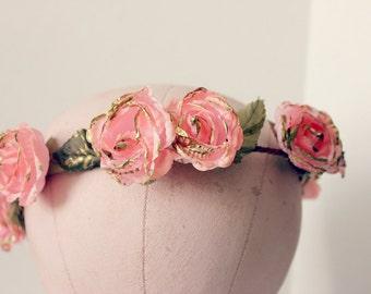 Pink Blossoms Floral Crown, Flower Hair Crown. Woodland, Wedding, bridal headpiece, Hair Accessories, flower girl-AMORE