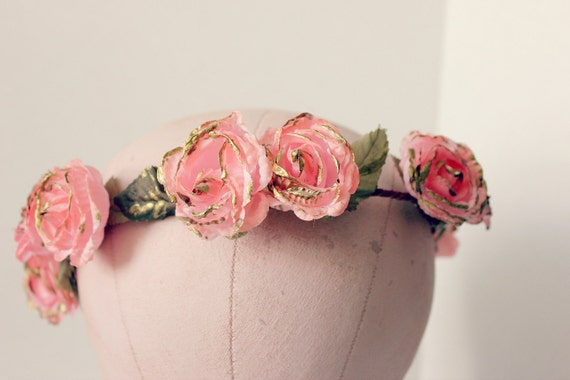 Pink Blossoms Floral Crown, Flower Hair Crown. Woodland, Wedding, bridal headpiece, Hair Accessories, flower girl-AMORE