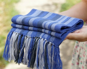 handwoven wrap blue merino wool scarf for baby READY TO SHIP! Baby Scarf
