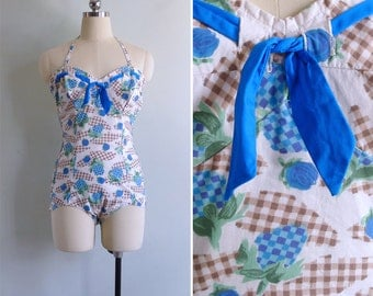 15% Code - MAR15OFF - Vintage 50's 'Strawberries & Roses' Novelty Cotton Smocked Swimsuit L or Xl