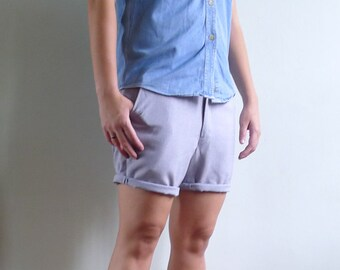 Vintage 70's Men's Lilac Grey Cropped Shorts S 30 31
