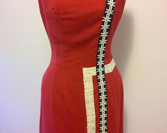 Vintage 1950's 60's Lipstick Red Linen Dress Red White and Blue