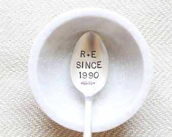 Custom Lover's Spoon - Anniversary Year - Stamped Spoon - Anniversary Spoon, Coffee Spoon, Silver Anniversary, gift for couples