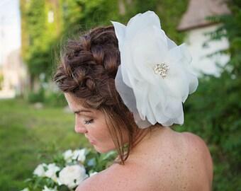 Bridal Flower Headpiece, Big Floral Hair Piece, Ivory Wedding Hair Accessory - Delphine - FA183