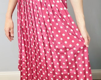 Pink polka dot vintage skirt pleats retro women's