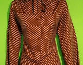 Vintage 70s Womens Brown Polka Dot Blouse Secretary Librarian Hipster boho Fall Size Small