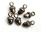Acorn metal charm, Brass acorn beads, woodland, greek beads, small acorns, Lead Free, 6pc - F278