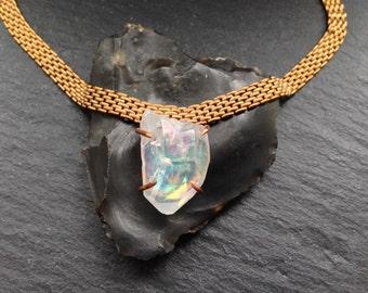 Opal Aura Quartz Shard Necklace - Brass