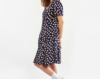 Dark Blue Light Dress with Floral Print