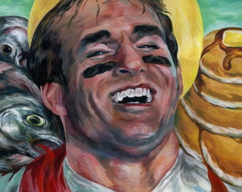 Canvas Print / New Orleans Saints Drew Brees Breesus Miracle Of The Fish & Pancakes Painting
