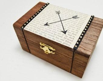 Arrows on Vintage Literature Keepsake Box