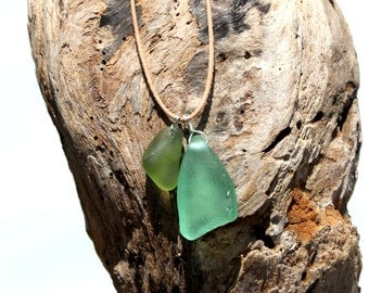 Hawaiian Aqua Blue Teal Beach Glass & Olive Green Beach Glass Wire Wrapped in 925 Sterling Silver on India Leather Necklace