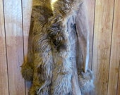 1960's/70's/ Brown SUEDE/LEATHER Faux FUR Coat
