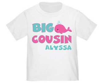 Big Cousin Whale Under the Sea Girls Personalized T Shirt