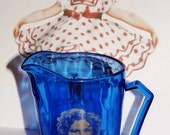 Shirley Temple cobalt blue glass pitcher - collectible - vintage - Hazel Atlas - part of childs breakfast set