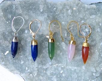 Genuine Stone- Spike Earrings- Dangle Earrings- Mineral Earrings-Lapis -Serpentine-Carnelian-pink Chalcedony-gold Vermeil-Sterling Silver