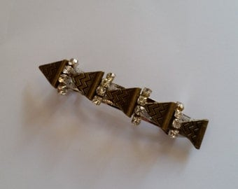 Bronze Metal Triangle Swarovski Crystal French Barrette, for weddings, parties, special occasions