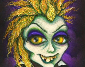 ORIGINAL Fantasy Lowbrow Beetlejuice Face Halloween Vibrant Big Eye Zombie Cartoon Character Pop Surrealism PAINTING Natalie VonRaven Art