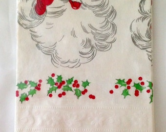 Vintage Christmas Santa Paper Disposable Tablecloth 1960s 70s Handi-Set 54 x 88 NIP