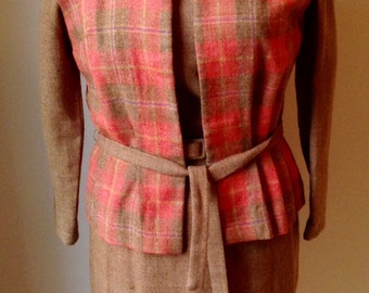 Vintage 1950s 60s Misses' Wool Tweed Dress & Vest Set by Nelly Don XS S