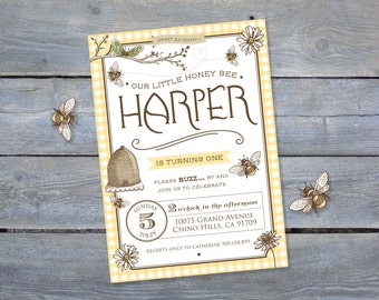 "BEE Birthday Invitation - Vintage Style for Birthday Party - Personalized - 5""x 7"" or 7""x 5"" - Print Your Own - DIY"