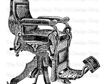 Antique Barber Chair Vintage Printable Clip Art Digital Download Transfer Image