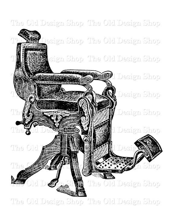 Antique Barber Chair Vintage Printable Clip Art Digital Download Transfer Image