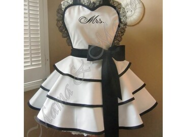Custom Embroidered Bridal Apron, Featuring Personalization Of Your Choice...Perfect Bridal Shower Gift