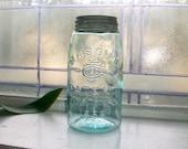 Antique Blue Mason Jar Mason's CFJ Co. Patent Nov 30th 1858 Blue Quart 1800s Canning Jar