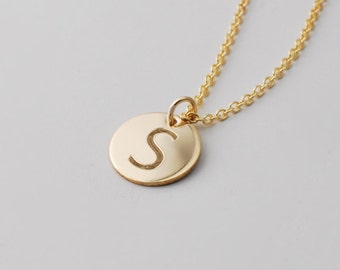Engraved initial charm necklace - 14k Gold filled 1/2 inch monogrammed pendant  • Bridesmaids • Personalized monogram Gift for her  • PETITE