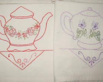 FREE SHIPPING OOAK Set of Seven Pretty Little Teapots Teatowels Hand Embroidered