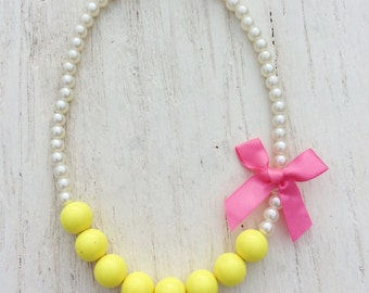 baby necklace yellow little girl chunky bead rosette stretchy string fabric flower, big girl necklace, women necklace, teen
