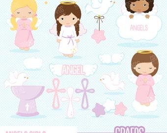 ANGELS GIRLS - Digital Clipart Set, Angels Clipart, Baptism Clipart, Cross Clipart.