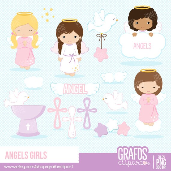 ANGELS GIRLS - Digital Clipart Set, Angels Clipart ...