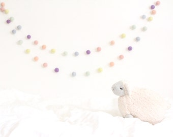 Pastel Rainbow Garland- Nursery Decor- Baby Room Decor- Pastel Garland-Pom Pom Bunting- Baby Shower Decor- Pastel Nursery Decor-Rainbow baby