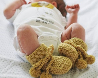 Hand knitted Pom Pom Booties for Baby Boy or Girl NB to 12M Made to Order Custom Colour