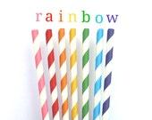 Rainbow Striped Straws-paper straws-rainbow paper straws-rainbow-rainbow birthday-rainbow decor-rainbow paper straws